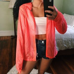 NIKE Neon Orange Sheer Running Jacket
